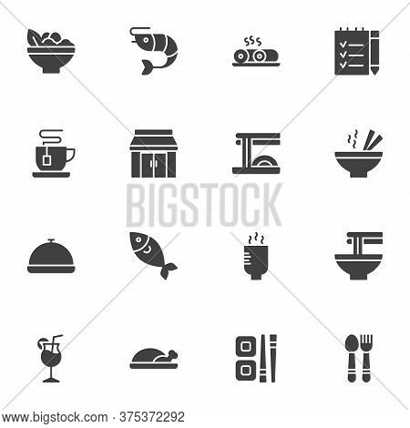 Asian Food Restaurant Vector Icons Set, Modern Solid Symbol Collection, Filled Style Pictogram Pack.