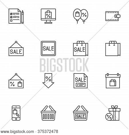 Sale And Discount Line Icons Set, Black Friday Sale Outline Vector Symbol Collection, Linear Style P