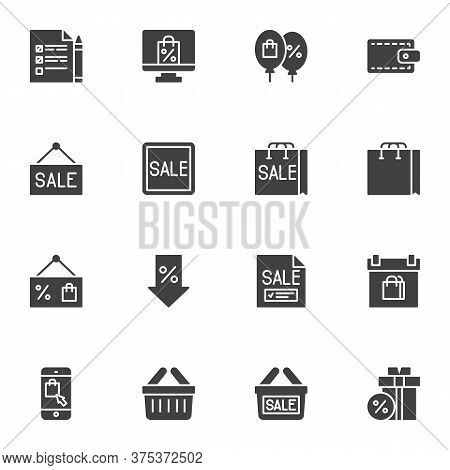 Sale And Discount Vector Icons Set, Black Friday Sale Modern Solid Symbol Collection, Filled Style P