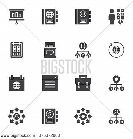 Corporate Management Vector Icons Set, Modern Solid Symbol Collection, Filled Style Pictogram Pack.
