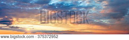 Panoramic Ave Sunrise Sundown Sanset Sky with colorful clouds, without any birds. Big size sky panoramic view
