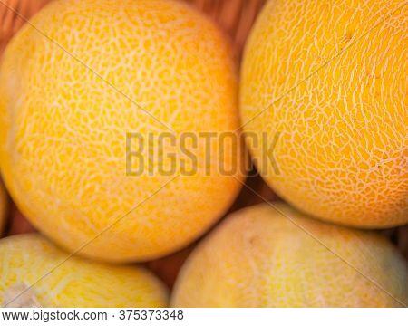 Fresh Melons In The Store. Melons In The Store. Melon Fruit.