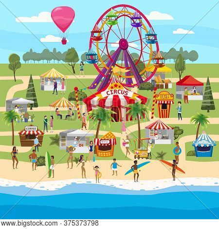 Amusement Park Outdoor Coast Sea Ocean Festival Curcus Tent Ferris Wheel Tents Canopy Fast Food And