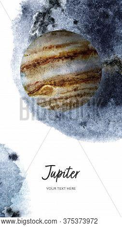 Jupiter Planet Vertical Banner Watercolor Hand Drawn Illustration With Watercolor Splash Backgroundo