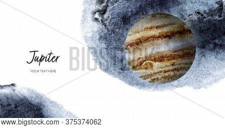 Jupiter Planet Horizontal Banner Watercolor Hand Drawn Illustration With Watercolor Splash Backgroun
