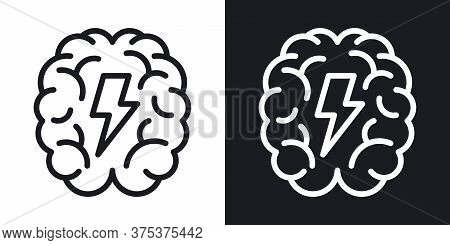 Brainstorm Or Brainstorming Icon. Human Brain With A Lightning Bolt Inside. Simple Two-tone Vector I