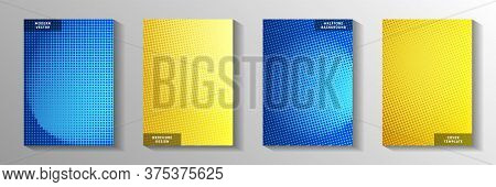Futuristic Point Screen Tone Gradation Front Page Templates Vector Kit. Corporate Banner Faded Scree