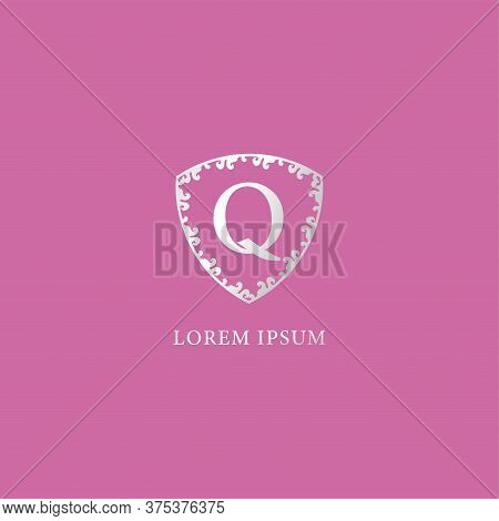 Q Letter Intial Logo Design Template Isolated On Pink Color Background. Luxury Silver Decorative Flo