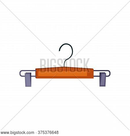 Wooden Hanger For Trousers. Brown Clothing Hanger. Can Be Used For Topics Like Closet, Wardrobe, Fas