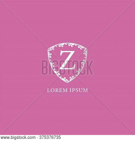 Z Letter Intial Logo Design Template. Luxury Silver Decorative Floral Shield Illustration. Isolated