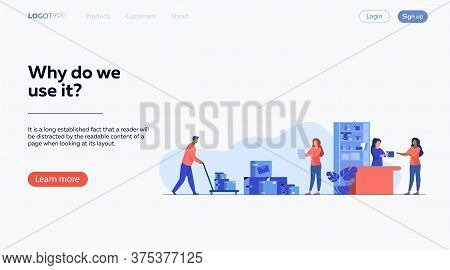 Postman Giving Parcel To Customer In Post Office. Courier Removing Boxes From Handcart. Vector Illus
