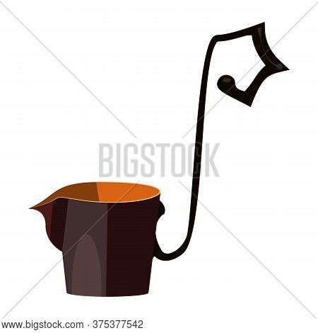 Greek Scoop For Wine And Water Flat Icon. Bucket, Utensil, Dishware. Containers Concept. Illustratio