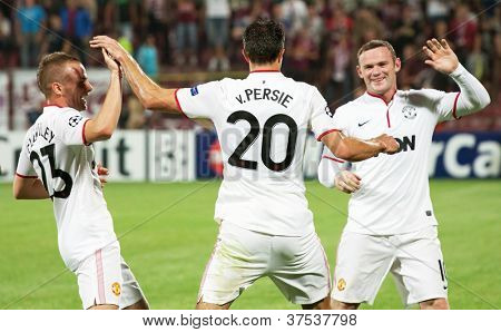 CLUJ-NAPOCA, ROMANIA - OCTOBER 2: van Persie, Cleverley and Rooney in UEFA Champions League match, CFR 1907 Cluj vs Manchester United, Dr. C. Radulescu Stadium on 2 Oct., 2012 in Cluj-Napoca, Romania