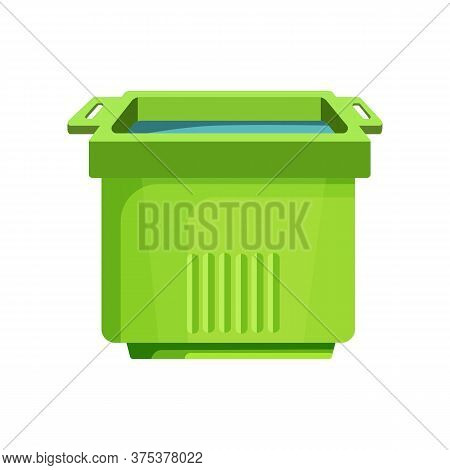 Green Square Bucket Illustration. Basket, Home, Cleaning. Houseware Concept. Illustration Can Be Use