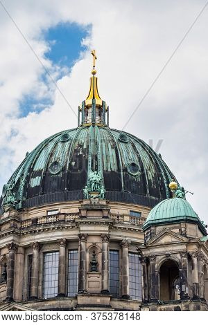 Berlin Cathedral, Berliner Dom Seen From The Spree River In Berlin Germany