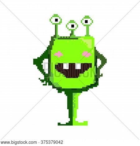 Confident Smiling Pixel Alien. Positive Green Monster With Hands On His Waist. Can Be Used For Topic