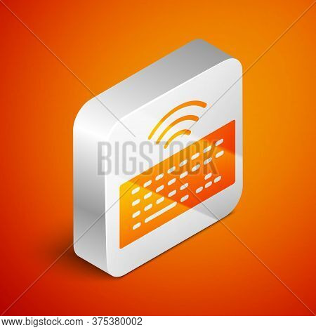 Isometric Wireless Computer Keyboard Icon Isolated On Orange Background. Pc Component Sign. Internet