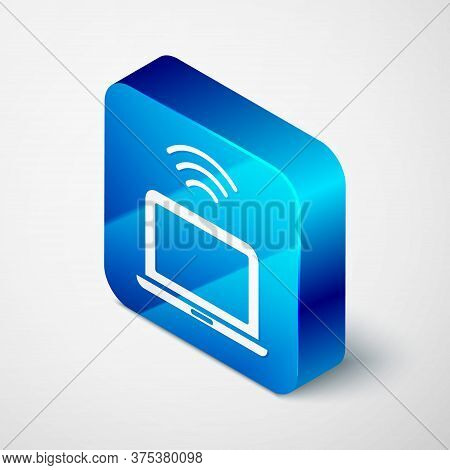 Isometric Wireless Laptop Icon Isolated On Grey Background. Internet Of Things Concept With Wireless