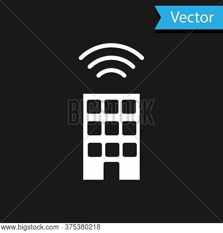 White Smart Home With Wireless Icon Isolated On Black Background. Remote Control. Internet Of Things