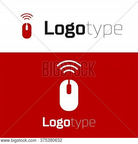 Red Wireless Computer Mouse System Icon Isolated On White Background. Internet Of Things Concept Wit