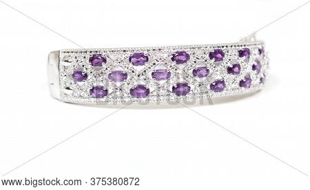 Sterling Silver And Amethyst Bangle Bracelet On White Background