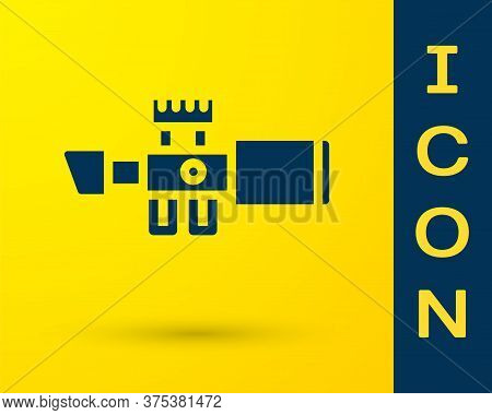 Blue Sniper Optical Sight Icon Isolated On Yellow Background. Sniper Scope Crosshairs. Vector