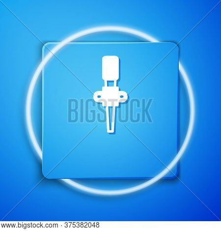 White Torch Flame Icon Isolated On Blue Background. Symbol Fire Hot, Flame Power, Flaming And Heat.