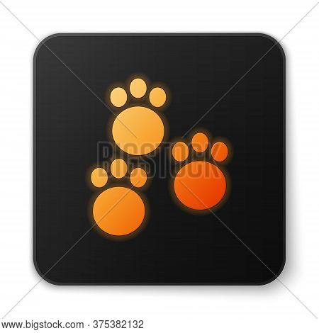 Orange Glowing Neon Paw Print Icon Isolated On White Background. Dog Or Cat Paw Print. Animal Track.
