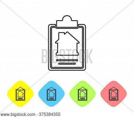 Grey Line House Contract Icon Isolated On White Background. Contract Creation Service, Document Form