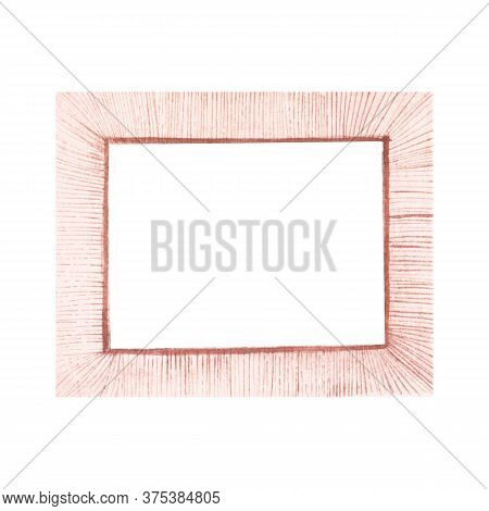 Watercolor Pink Striped Textured Frame For Photos Isolated On White Background. Vintage Decorative E