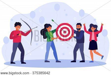 Business Goals Concept, Team Doing Archery, Aiming Arrow At Target, Celebrating Success. Vector Illu