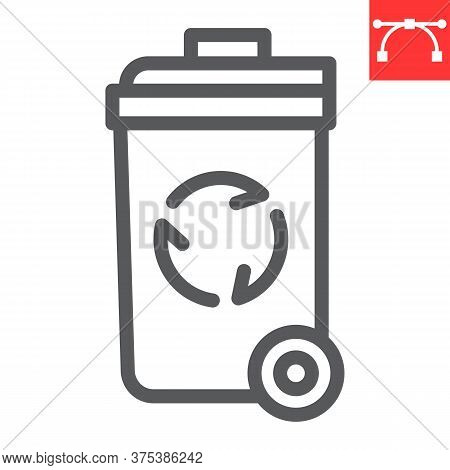 Recycle Bin Line Icon, Garbage And Ecology, Trash Bin Sign Vector Graphics, Editable Stroke Linear I