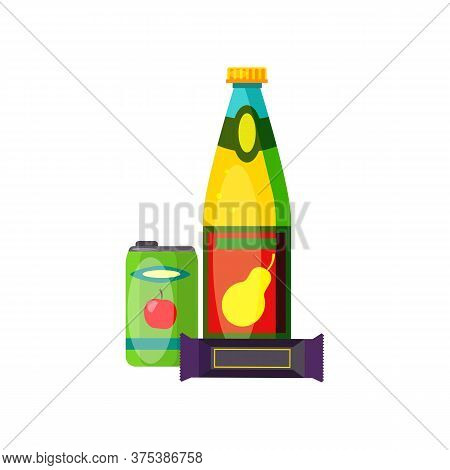 Soda And Chocolate Bar. Pear Juice In Bottle, Apple Soda In Can And Packaged Candy. Can Be Used For