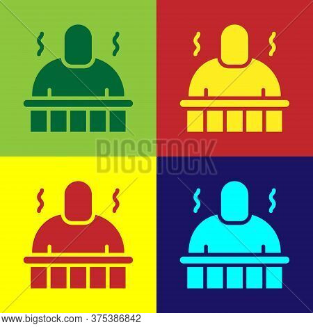 Pop Art Sauna And Spa Procedures Icon Isolated On Color Background. Relaxation Body Care And Therapy