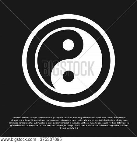 Black Yin Yang Symbol Of Harmony And Balance Icon Isolated On Black Background. Vector