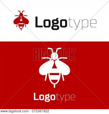 Red Bee Icon Isolated On White Background. Sweet Natural Food. Honeybee Or Apis With Wings Symbol. F