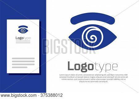 Blue Hypnosis Icon Isolated On White Background. Human Eye With Spiral Hypnotic Iris. Logo Design Te