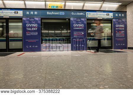 SINGAPORE CITY SINGAPORE: FEBRUARY 12 2020: Singapore Bayfront MRT Metro station