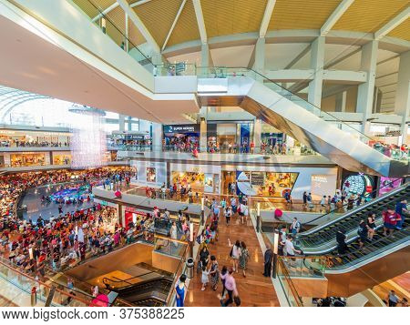 SINGAPORE CITY, SINGAPORE - FEBRUARY 17, 2020: Singapore Marina bay sands Shoppes shopping mall