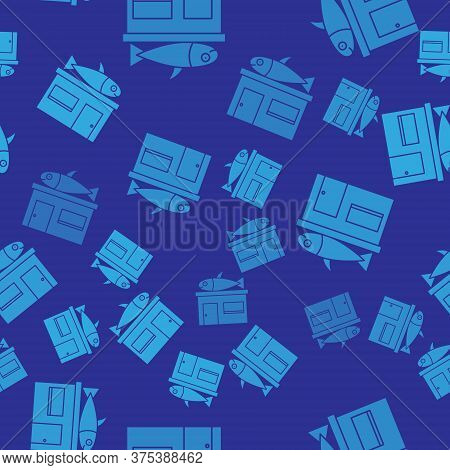 Blue Seafood Store Icon Isolated Seamless Pattern On Blue Background. Facade Of Seafood Market. Vect