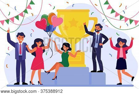 Business Team Success Concept. Group Of Happy Employees Celebrating Victor. Business People Getting
