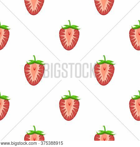 Theme Big Colored Seamless Strawberry, Bright Berry Pattern For Seal. Berry Pattern Consisting Of Be