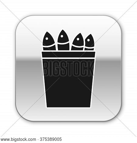 Black Fishing Bucket With Fishes Icon Isolated On White Background. Fish In A Bucket. Silver Square