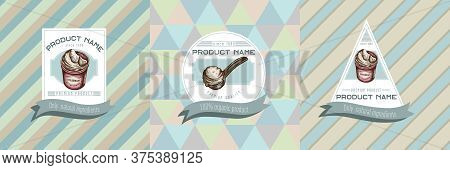 Three Colored Labels With Illustration Of Ice Cream Bucket, Ice Cream Scoop, Ice Cream Balls Stock I