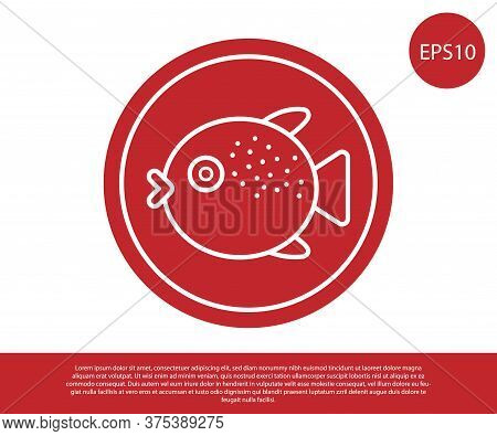 Red Puffer Fish On A Plate Icon Isolated On White Background. Fugu Fish Japanese Puffer Fish. Vector