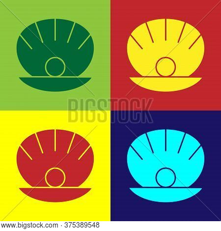 Pop Art Natural Open Shell With Pearl Icon Isolated On Color Background. Scallop Sea Shell. Seashell