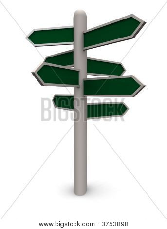 Blank 3D Direction Sign