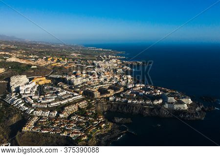 Aerial Panorama Of Acantilados De Los Gigantes Cliffs Of The Giants At Sunset, Tenerife, Canary Isla