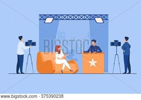 Tv Host Interviewing Celebrity Person In Studio. Camera Crew Working On Talk Show. Vector Illustrati