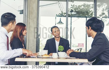 Business Partner Team Meeting Working Together On Office Desk. Group Of People Diversity Multiethnic
